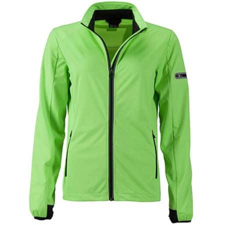 Ladies` Sports Softshell Jacket in Bright Green|Black von James+Nicholson (Artnum: JN1125