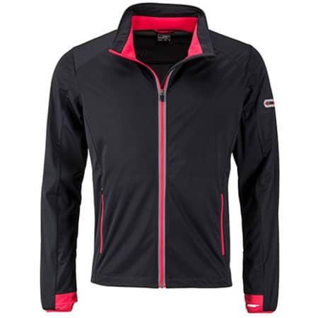 Men`s Sports Softshell Jacket in Black Light Red von James+Nicholson (Artnum: JN1126
