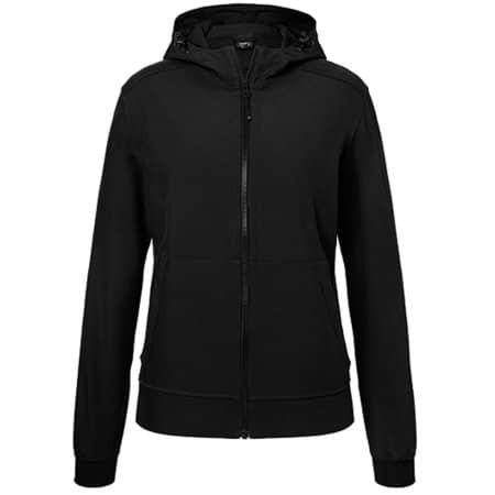 Ladies` Hooded Softshell Jacket in Black|Black von James+Nicholson (Artnum: JN1145