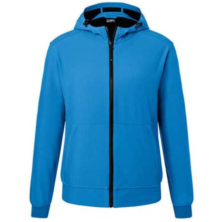 Men`s Hooded Softshell Jacket in Blue|Black von James+Nicholson (Artnum: JN1146