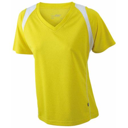 Ladies` Running-T in Yellow|White von James+Nicholson (Artnum: JN396