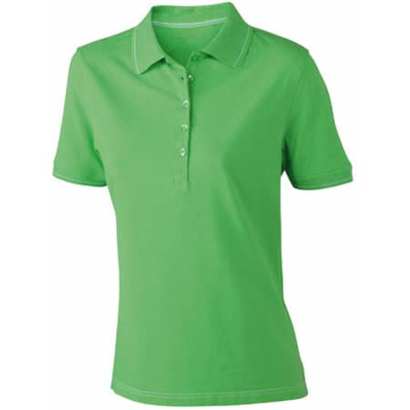 Ladies` Elastic Polo in Lime Green|White von James+Nicholson (Artnum: JN568