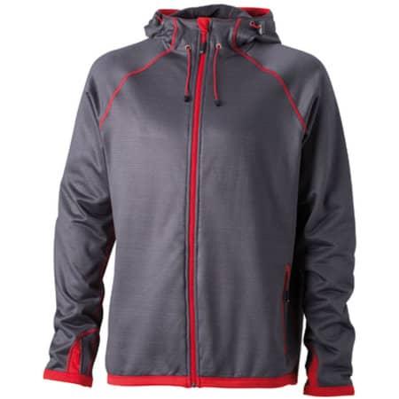 Men`s Hooded Fleece in Carbon Red von James+Nicholson (Artnum: JN571