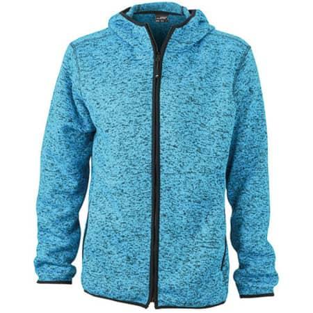 Men`s Knitted Fleece Hoody in Blue Melange|Black von James+Nicholson (Artnum: JN589