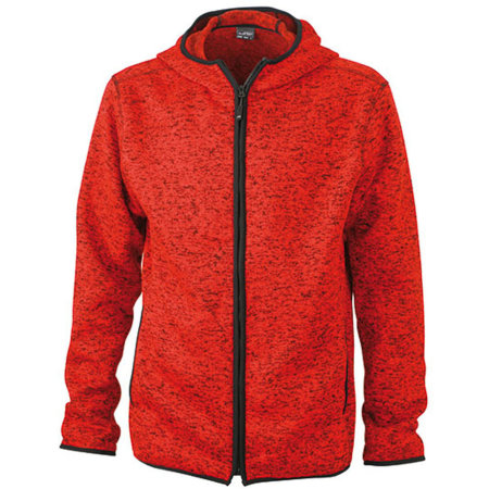 Men`s Knitted Fleece Hoody in Red Melange Black von James+Nicholson (Artnum: JN589