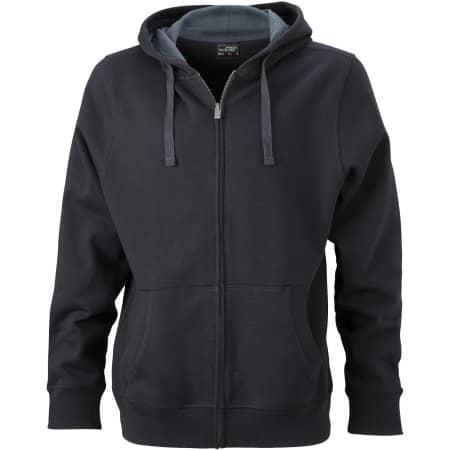 Men`s Hooded Jacket JN595 in Black|Carbon von James+Nicholson (Artnum: JN595