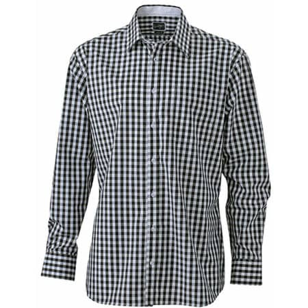 Men`s Checked Shirt in Black White von James+Nicholson (Artnum: JN617