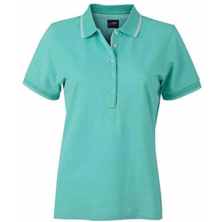 Ladies` Polo in Caribbean Green|White von James+Nicholson (Artnum: JN703