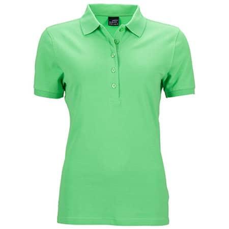 Ladies` Elastic Polo Piqué in Lime Green von James+Nicholson (Artnum: JN709