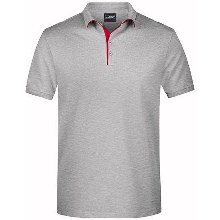 Men`s Polo Single Stripe in Grey Heather|Red von James+Nicholson (Artnum: JN726