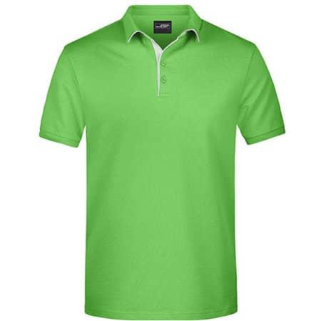 Men`s Polo Single Stripe in Lime Green|White von James+Nicholson (Artnum: JN726