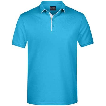Men`s Polo Single Stripe in Turquoise|White von James+Nicholson (Artnum: JN726