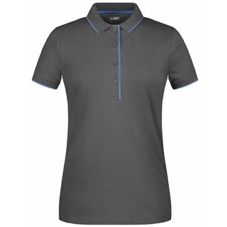 Ladies` Polo Stripe in Graphite (Solid)|Aqua von James+Nicholson (Artnum: JN727