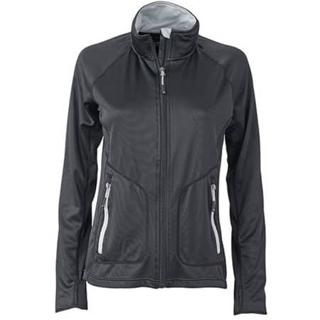 Ladies` Stretchfleece Jacket in Black|Silver (Solid) von James+Nicholson (Artnum: JN763