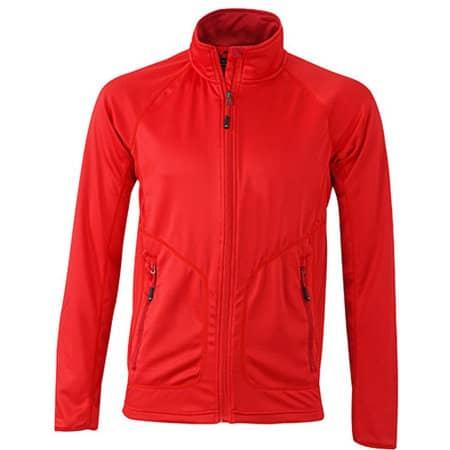 Men`s Strechfleece Jacket in Light Red|Chili von James+Nicholson (Artnum: JN764