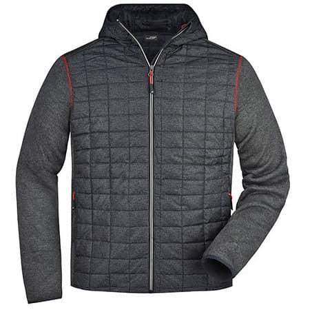 Men`s Knitted Hybrid Jacket in Grey Melange Anthracite Melange von James+Nicholson (Artnum: JN772