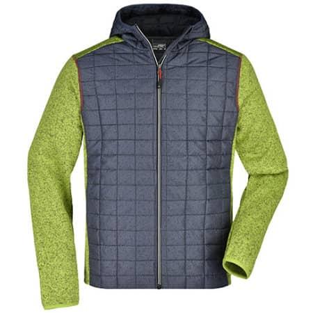 Men`s Knitted Hybrid Jacket in Kiwi Melange Anthracite Melange von James+Nicholson (Artnum: JN772