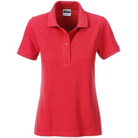 Ladies` Basic Polo in Carmine Red Melange von James+Nicholson (Artnum: JN8009