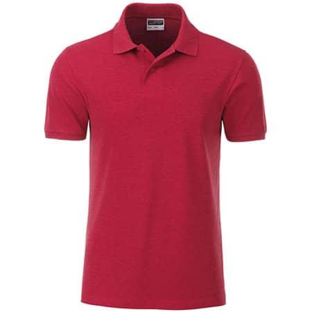 Men`s Basic Polo in Carmine Red Melange von James+Nicholson (Artnum: JN8010