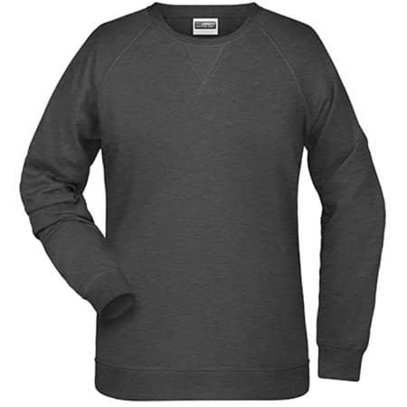 Ladies` Sweat in Black Heather von James+Nicholson (Artnum: JN8021