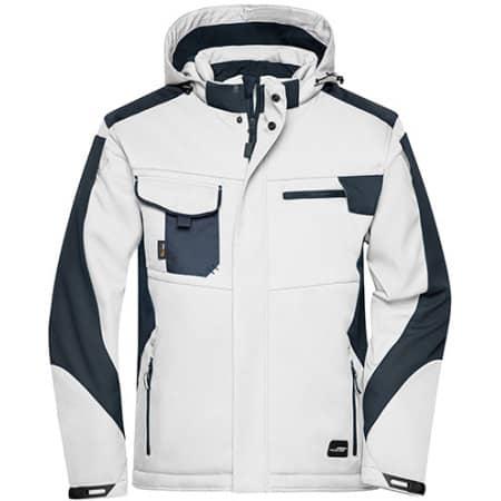Craftsmen Softshell Jacket -STRONG- in White|Carbon von James+Nicholson (Artnum: JN824