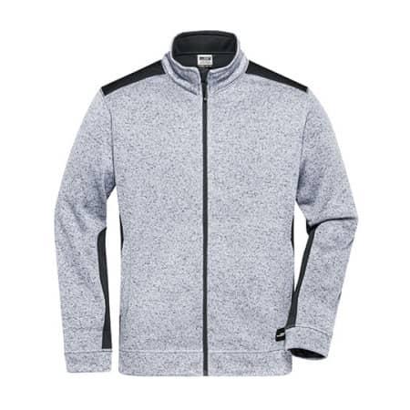 Men`s Knitted Workwear Fleece Jacket -STRONG- in White Melange|Carbon von James+Nicholson (Artnum: JN862
