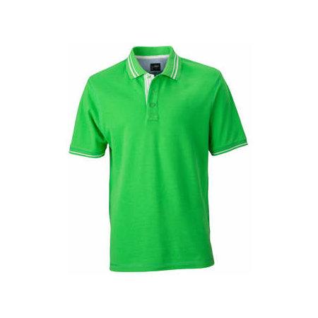 Men`s Lifestyle Polo in Green Off-White von James+Nicholson (Artnum: JN947