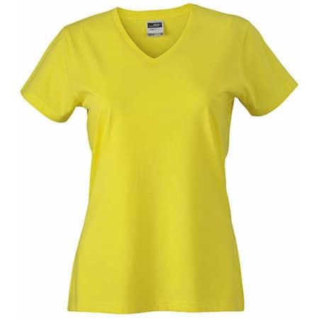 Ladies` Slim Fit V-T in Yellow von James+Nicholson (Artnum: JN972