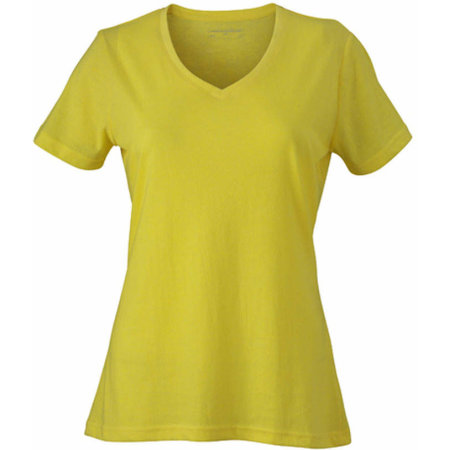 Ladies` Heather T-Shirt in Yellow Melange von James+Nicholson (Artnum: JN973