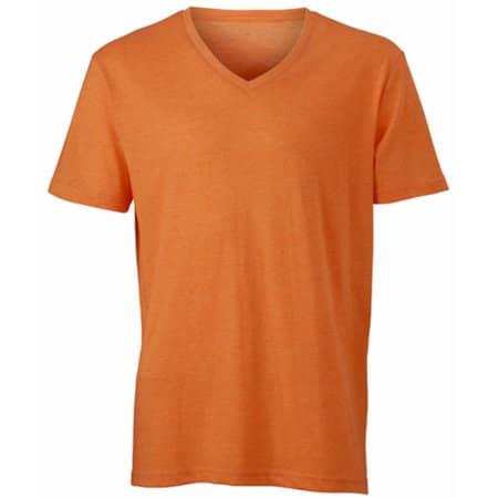 Men`s Heather T-Shirt in Orange Melange von James+Nicholson (Artnum: JN974