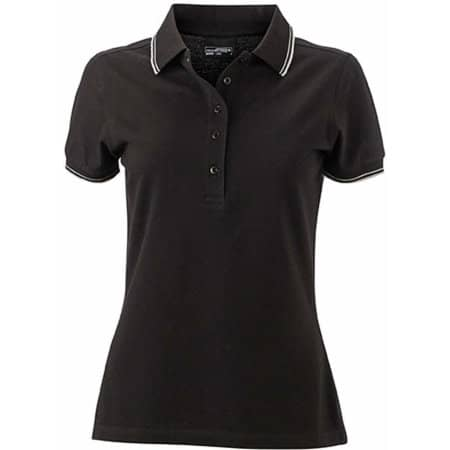 Ladies` Polo JN985 in Black|White von James+Nicholson (Artnum: JN985