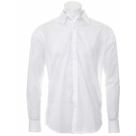 Men`s Slim Fit Business Shirt Long Sleeve in White von Kustom Kit (Artnum: K192