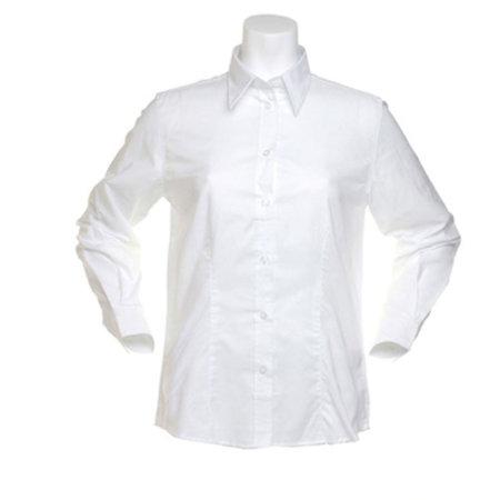 Women`s Workwear Oxford Shirt Long Sleeve in White von Kustom Kit (Artnum: K361