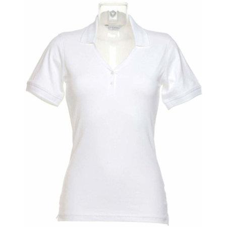 Sophia Comfortec® V Neck Polo Shirt in White von Kustom Kit (Artnum: K732