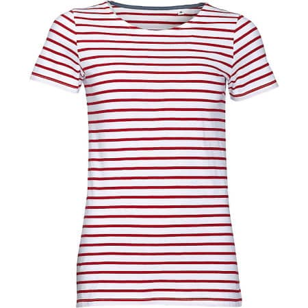 Women`s Round Neck Striped T-Shirt Miles von SOL´S (Artnum: L01399