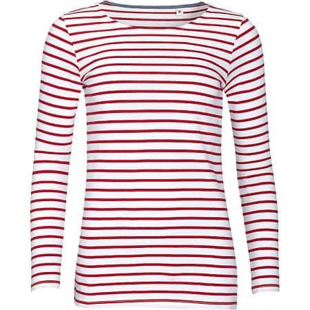 Women`s Long Sleeve Striped T-Shirt Marine von SOL´S (Artnum: L01403