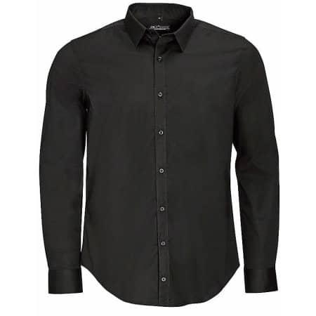 Men`s Long Sleeve Stretch Shirt Blake in Black von SOL´S (Artnum: L01426