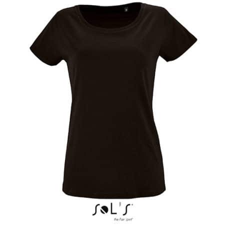 Women`s Short Sleeved T-Shirt Milo in Deep Black von SOL´S (Artnum: L02077
