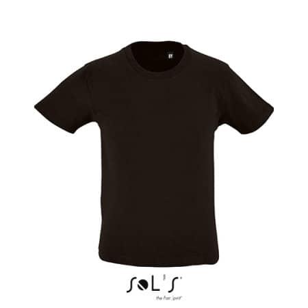 Kids` Round Neck Short-Sleeve T-Shirt Milo in Deep Black von SOL´S (Artnum: L02078