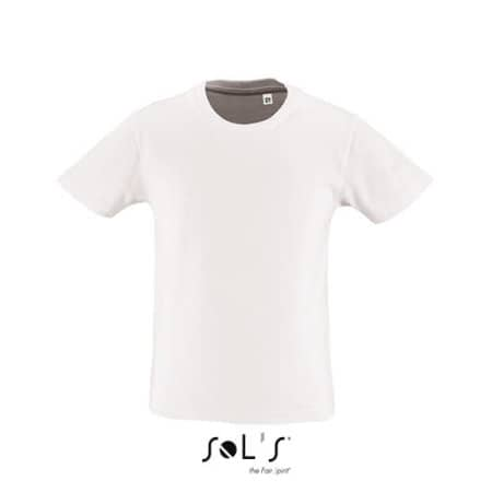 Kids` Round Neck Short-Sleeve T-Shirt Milo in White von SOL´S (Artnum: L02078