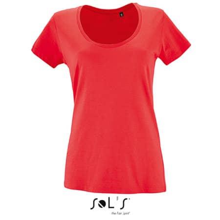 Women`s Low-Cut Round Neck T-Shirt Metropolitan in Hibiscus von SOL´S (Artnum: L02079