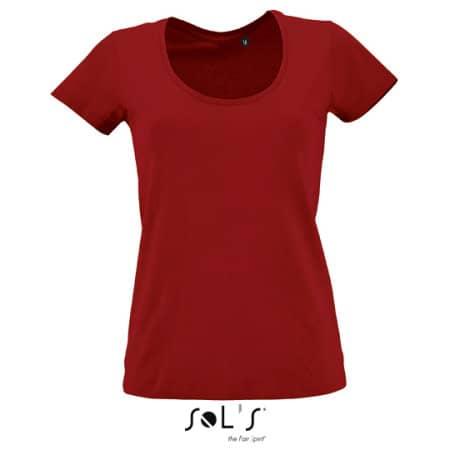 Women`s Low-Cut Round Neck T-Shirt Metropolitan in Tango Red von SOL´S (Artnum: L02079