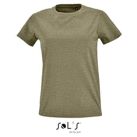 Women`s Round Neck Fitted T-Shirt Imperial in Heather Khaki von SOL´S (Artnum: L02080