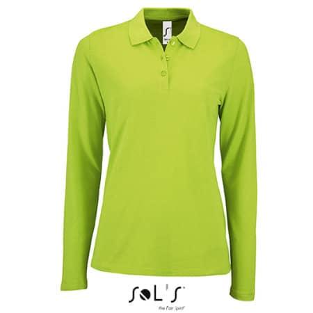 Women`s Long-Sleeve Piqué Polo Shirt Perfect in Apple Green von SOL´S (Artnum: L02083