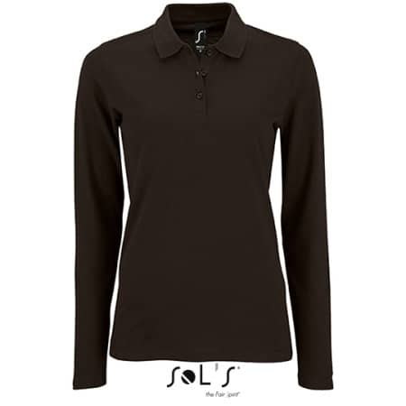 Women`s Long-Sleeve Piqué Polo Shirt Perfect in Black von SOL´S (Artnum: L02083