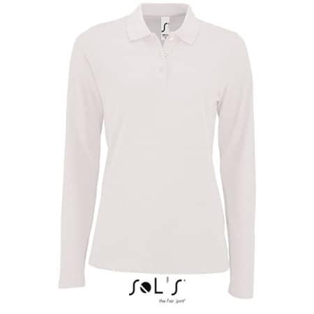 Women`s Long-Sleeve Piqué Polo Shirt Perfect in White von SOL´S (Artnum: L02083
