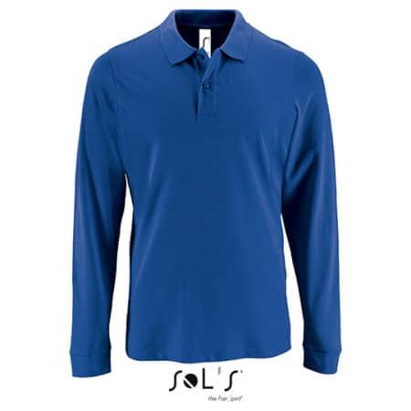 Men`s Long-Sleeve Piqué Polo Shirt Perfect in Royal Blue von SOL´S (Artnum: L02087
