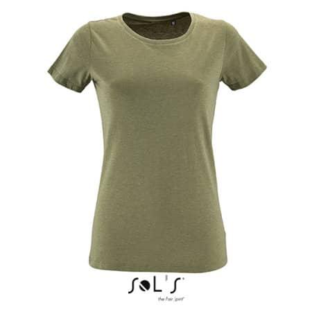 Women`s Round Neck Fitted T-Shirt Regent in Heather Khaki von SOL´S (Artnum: L02758