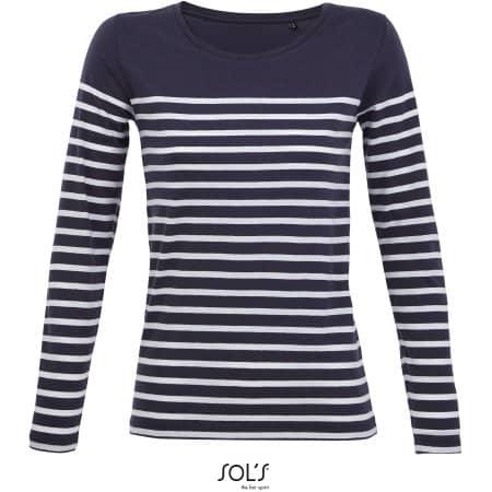 Women´s Long Sleeve Striped T-Shirt Matelot von SOL´S (Artnum: L03100