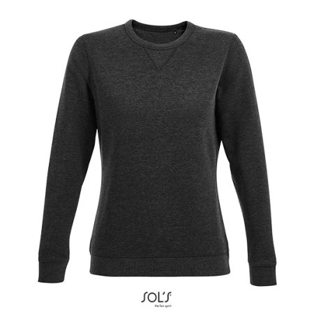 Women´s Round Neck Sweatshirt Sully in Heather Charcoal Melange von SOL´S (Artnum: L03104